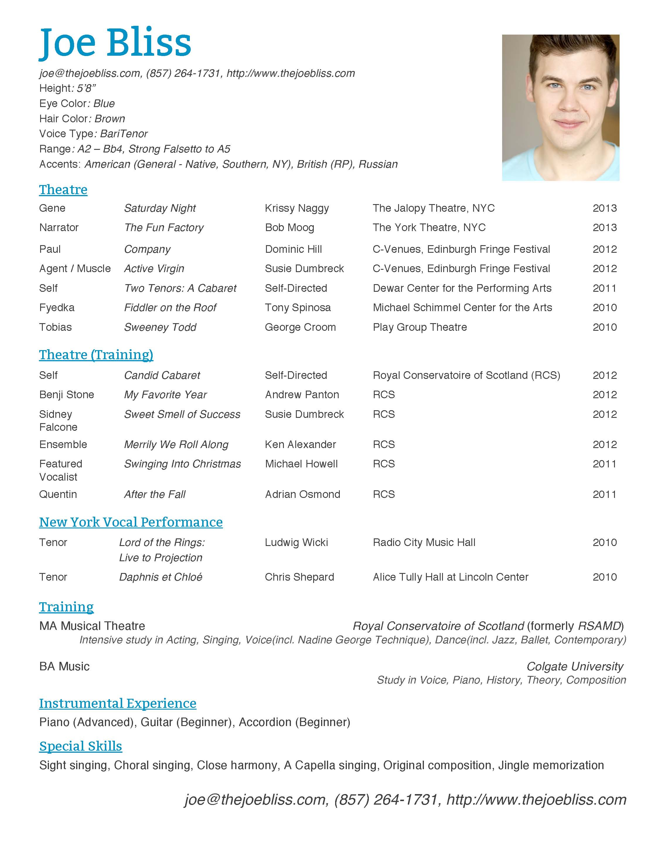 Example of a dance resume for college – Dance Resume